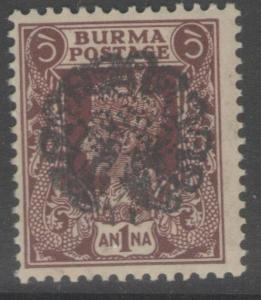 BURMA-JAP.OCC SGJ19b 1942 1a PURPLE-BROWN MTD MINT