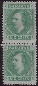 SARAWAK 1875 6c SG5 mint pair with gum.....................................36350