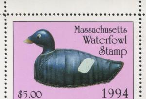 MASSACHUSETTS #21 1994 STATE DUCK WHITE WINGED SCOTER DECOY by Clarance Bailey