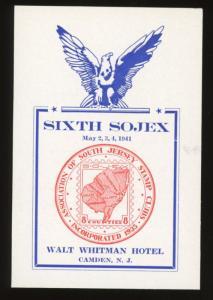 1941 SOJEX  Sixth Annual Stamp Exhibition Camden NJ