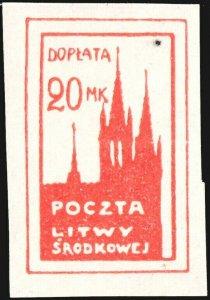 CENTRAL LITHUANIA / MITTELLITAUEN - 1921 Mi.P.6.B 20M Mint* - ref.916n