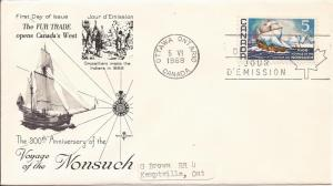 1968 Canada- FDC - RoseCraft - Sc 482 - 1668 Voyage of the Nonsuch