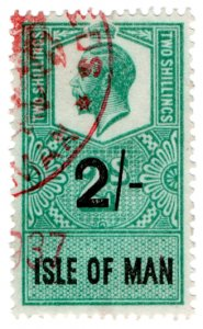(I.B) George V Revenue : Isle of Man 2/- (fugitive ink)