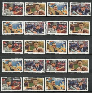 3143-46 Football Coaches  Wholesale Lot Of 20 Singles Mint/nh Below Face