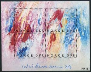 Norway 947 ad sheet,MNH.Michel 1023-1026 Bl.11. Stamp Day 1989:Jacob Weidemann.
