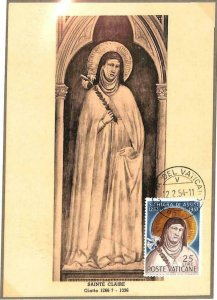 90085 -  VATICAN - Postal History -  MAXIMUM CARD -  SAINT CLAIRE Religion 1954