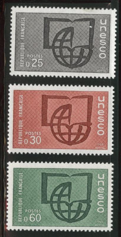 FRANCE Scott 2o6-8 MNH** 1966 UNESCO set