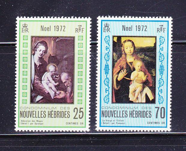 New Hebrides, French 186-187 Set MNH Christmas (A)