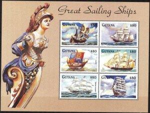 Guyana 1998 Sailing Ships Boats Sheet MNH