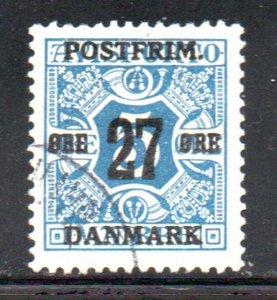 Denmark Sc 146 1918 27 ore overprint on 5 ore newspaper stamp used