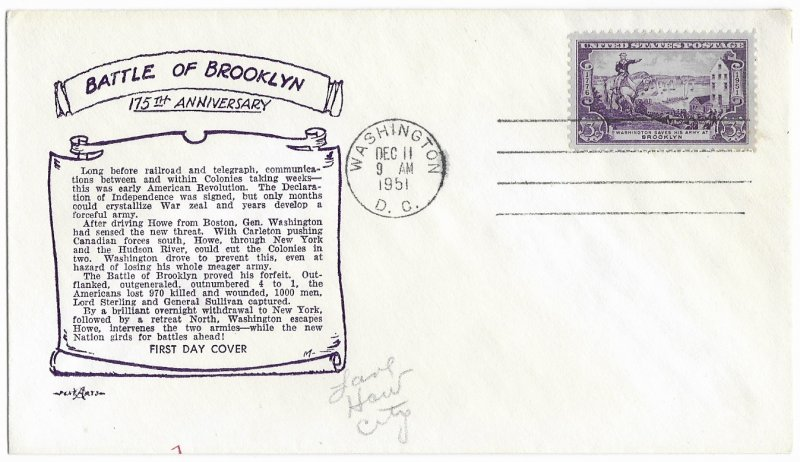 #1003 FDC, 3c Battle of Brooklyn 175th, Pent Arts cachet (4)
