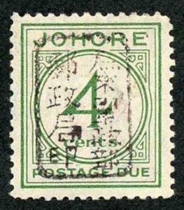 MALAYA JAP OCC SGJD2a 1942 Johore 4c green chop F in (brownish) black Post Due