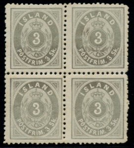 ICELAND #5 (5), 3sk gray, og, NH, Block of 4, Very Rare Multiple, Facit $6,510