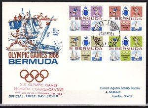 Bermuda, Scott cat. 226-229. Summer Olympic Games. First day cover. ^