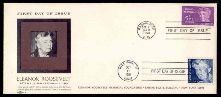 Eleanor Roosevelt #1236 & #2106 Dual Cancel First Day Cover