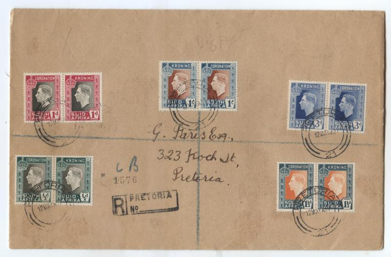 SOUTH AFRICA - Scott 74-78 - On FDC 12th May 1937 - Pretoria No 1576.