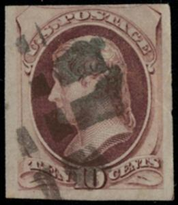US #150 ?? IMPERF?? Most likely cut down, super margins and eye appeal! Crease