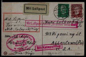 Germany Catapult card 20.8.29 Bremen-NY, Herdorf