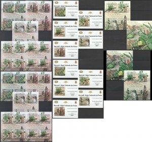 BU59 IMPERF,PERF 2012 BURUNDI AFRICAN FAUNA ANIMALS & CACTUSES !!! 12BL+12KB MNH