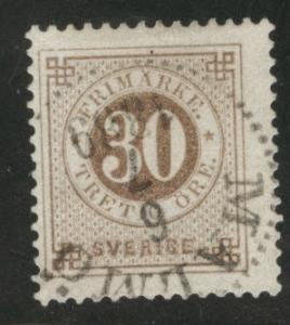 SWEDEN Scott 47 1886 Post Horn on back CV$1.50