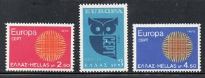 Greece Sc  985-87 1970  Europa stamp set mint  NH