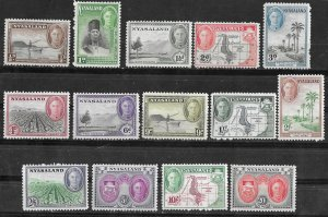 Nyasaland # 68-81  George VI , complete  (14)  Mint NH