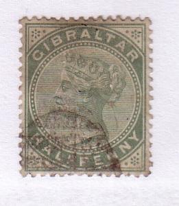 Gibraltar Sc 8 1887 ½ d grn Victoria stamp used