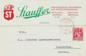 Hungary 20f St. Stephen 1939 Sopron, 2 Postcard to Langenthal, Switzerland.  ...