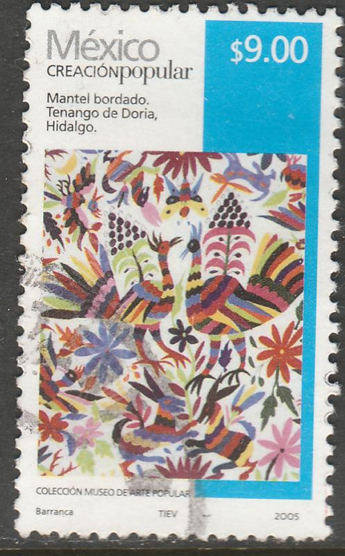 MEXICO 2501, $9.00P HANDCRAFTS 2005 ISSUE. USED. F-VF. (1508)