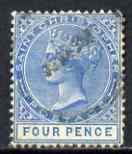 St Christopher 1870-79 QV Crown CC 4d blue P14 used SG8