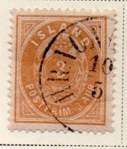 Iceland Sc 15 1882 3 aur orange arms stamp used