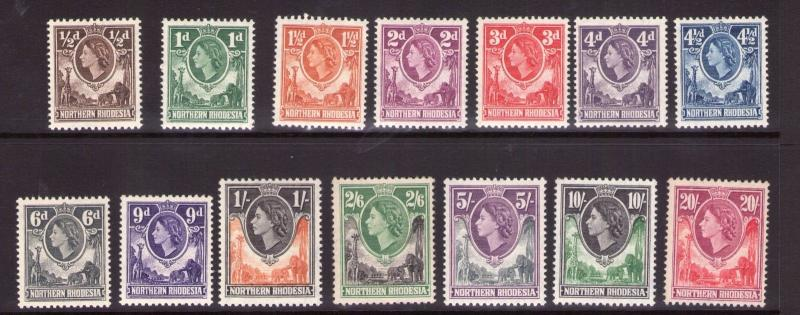 NORTHERN RHODESIA QE II  lightly hinged/MNH with fresh colours.