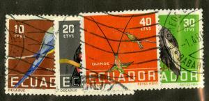 ECUADOR 634-7 USED BIN $.50 BIRDS