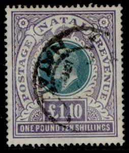 SOUTH AFRICA - Natal EDVII SG143, £1.10s green & violet FINE USED. Cat £130. CDS