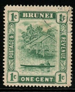 BRUNEI SG35 1911 1c GREEN TYPE II FINE USED