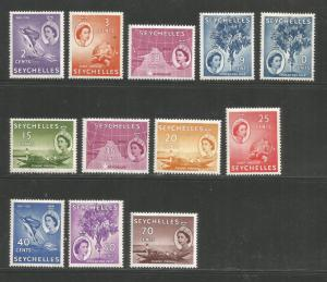 SEYCHELLES – 1954-1956 – ELIZABETH DEFINITIVE ISSUE – 12 DIFFERENT - MINT