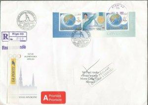 LATVIA OLYMPIAD SYDNEY 2000 REG FDC TO MONACO RETURN 202020