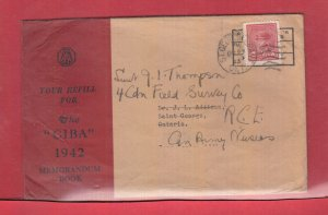 3 cent War Issue on Forces Nurses cover refill for the CIBA 1942 Mem book permit