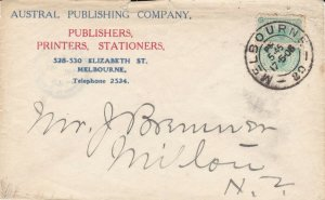 V106) Victoria 1906 small advertising cover for Austral Publishing Company