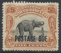 North Borneo SG D57 MH 5c Opt Postage Due  see details and scans
