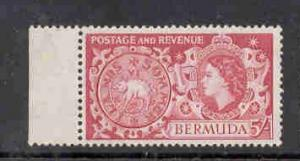 Bermuda Sc 160 1953 5/ Hog Coin QE II stamp mint NH