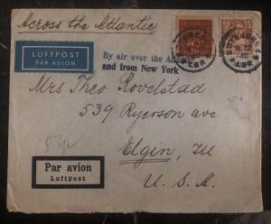 1940 Goteborg Sweden Airmail Cover To Elgin IL USA Via New York