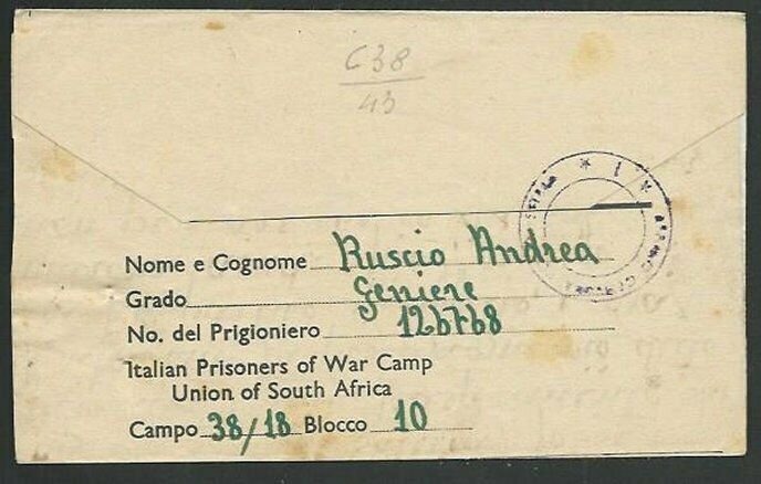 SOUTH AFRICA 1943 Prisoner of War lettersheet to ITALY.....................61065