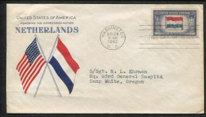 1943 Washington DC Honoring Oppressed Nations Netherlands WWII First Day Cover