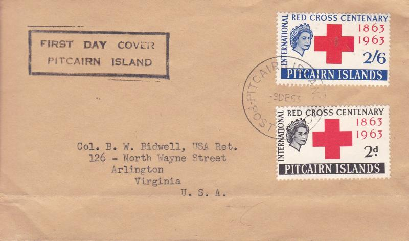 Pitcairn Islands 1963 Red Cross Centenary First Day Cover Typed Address  VF