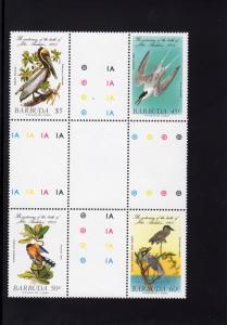 Barbuda 1985 Sc#701/704 BIRDS AUDUBON BICENTENARY UNIQUE CROSS BLOCK MNH