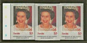 TUVALU 1986 60TH BIRTHDAY QUEEN ELIZABETH 11, $3 STRIP OF 3 IMPERF-ERROR