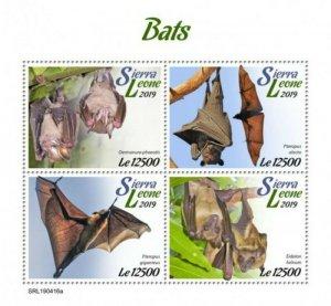 Sierra Leone - 2019 Bats on Stamp - 4 Stamp Sheet - SRL190416a