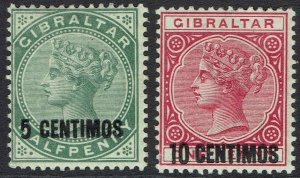 GIBRALTAR 1899 QV 5 CENTIMOS AND 10 CENTIMOS