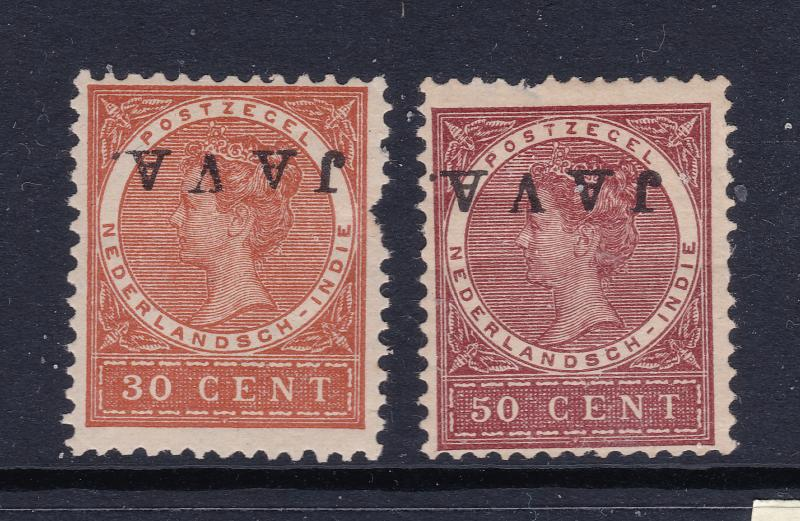 Netherlands Indies a MH 30 & 50c with inverted JAVA overprint